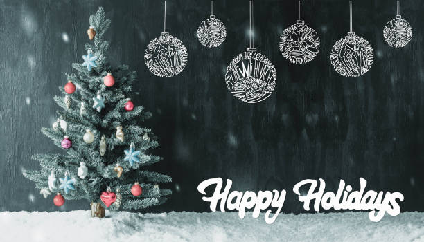 colourful tree, ball, calligraphy happy holidays, snowflakes - happy holidays stock pictures, royalty-free photos & images