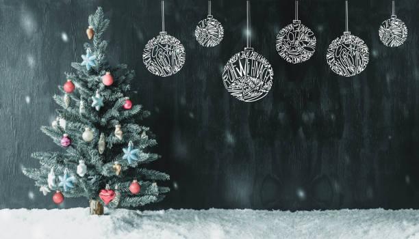 renkli ağaç, top, frohe weihnachten mutlu noeller, kar taneleri anlamına gelir. - weihnachten stok fotoğraflar ve resimler