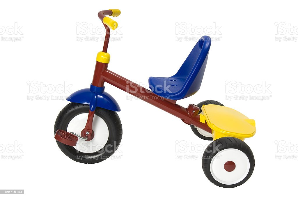 Colourful tricycle on a white background. Clipping path included. royalty-free stock photo