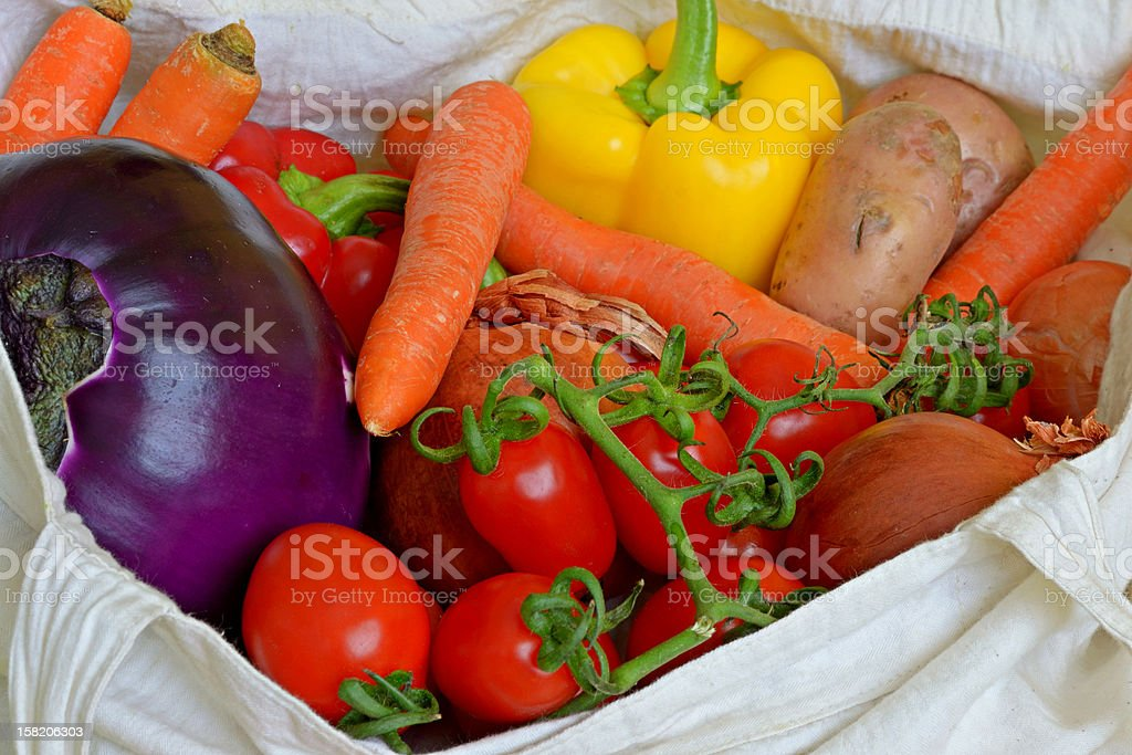 Colourful vegetables in shopping bag royalty-free stock photo