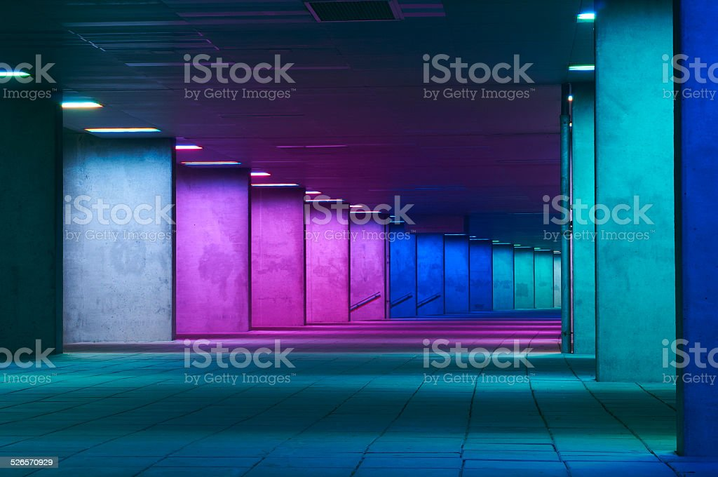 Colourful walkway at night in the city of Rotterdam stock photo