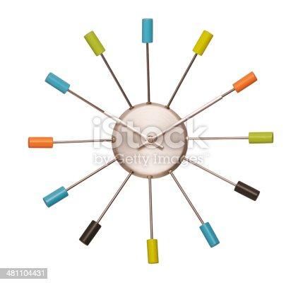 colourful wall clock sixties look isolated with clipping path