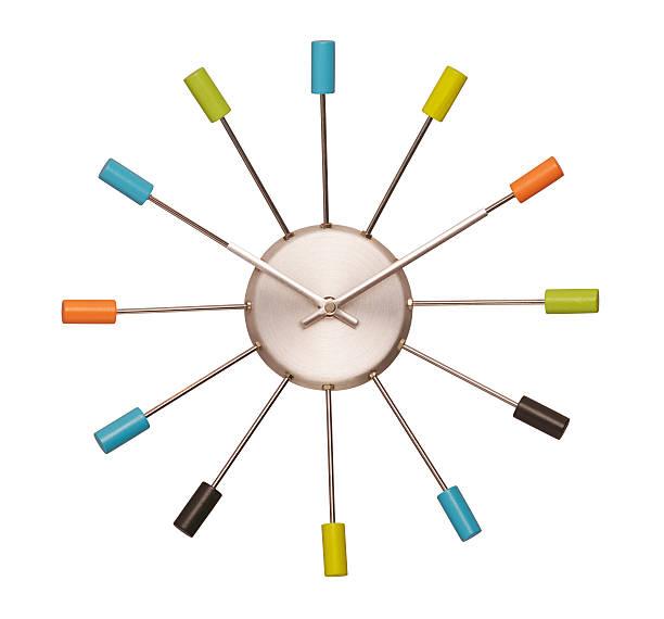 coloridos reloj de pared - wall clock fotografías e imágenes de stock