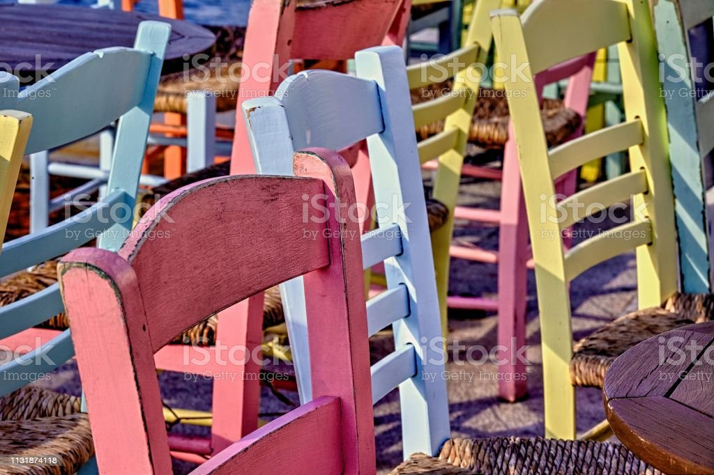 Colourful Wooden Chairs . Close-up. Isolated stock photo
