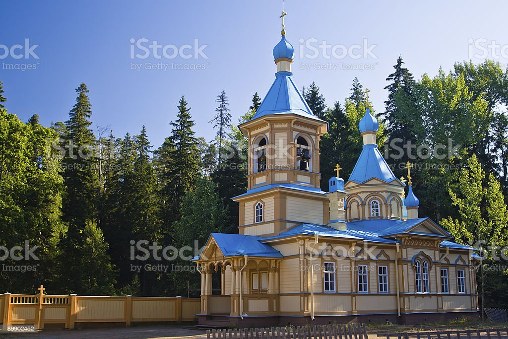 Colourful wooden Russian Orthodox church royalty-free stock photo