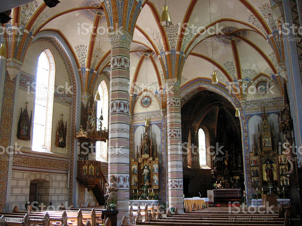 Colourfull interior of medieval church royalty-free stock photo