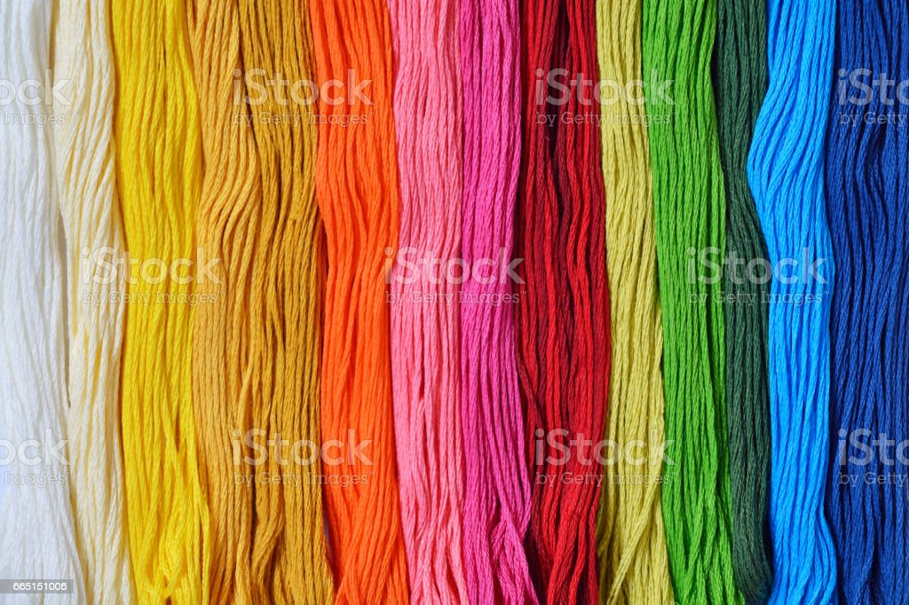Colourfull threads for needlework or embroidery stock photo