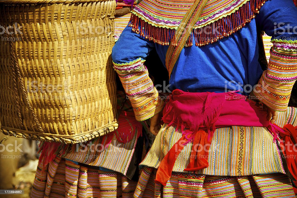colourfully dressed women in northern Vietnam stock photo