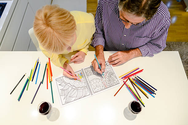 colouring book for adults - colouring book stock photos and pictures