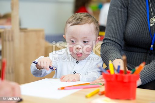 istock Colouring in at nursery 544357868