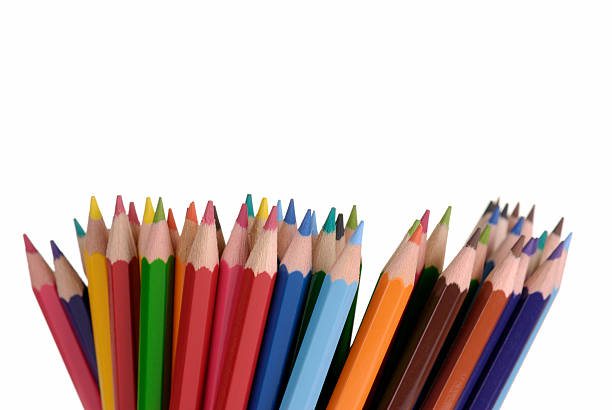 Colouring pencils photographed against a white background. stock photo