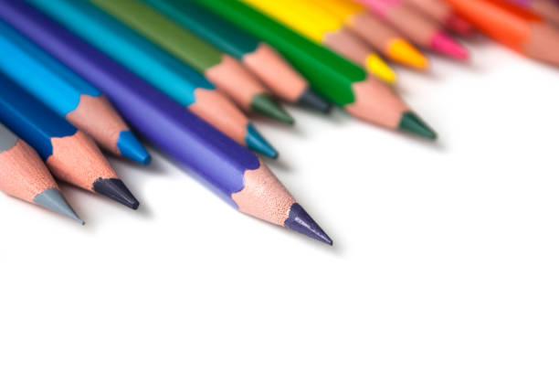 colouring pencils set on white background stock photo