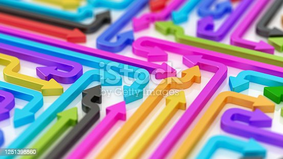 Colours arrows. Abstract 3d illustration to diverse business strategies. Brainstorming concept.
