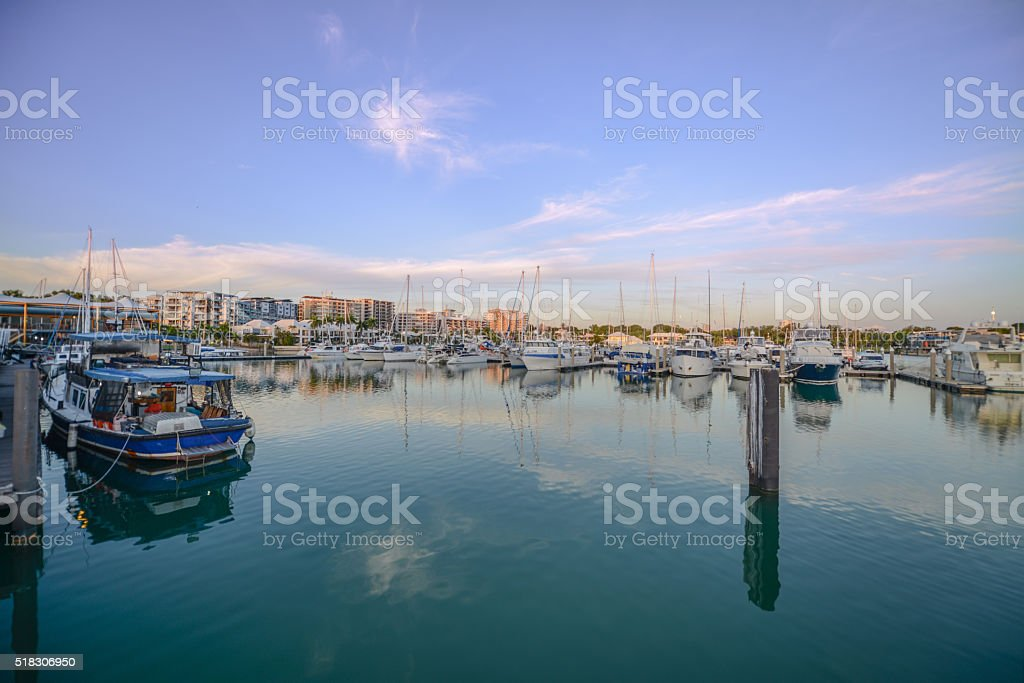 Colours of sunset at Cullen Bay Marina, Darwin stock photo