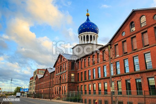 Hartford, CT- OCTOBER 15: The Colt Armory factory on October 15, 2014 in Hartford. It is a historic factory complex for the manufacture of firearms, created by Samuel Colt.