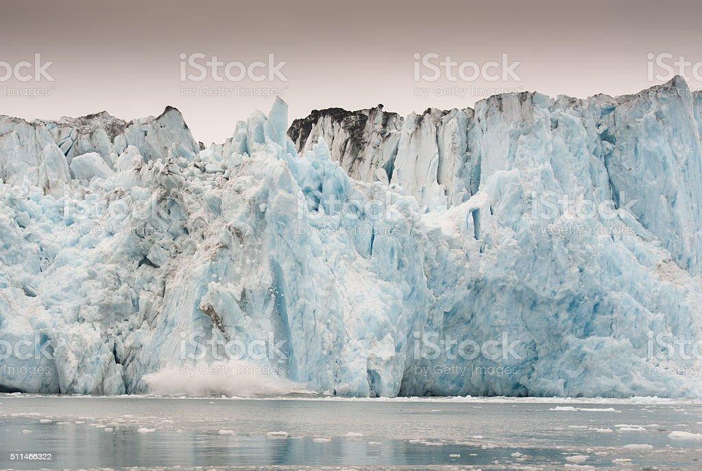 Columbia Glacier Calving in Alaska stock photo