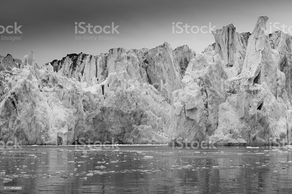 Columbia Glacier in Black and White stock photo