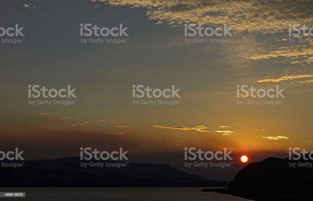 Columbia Gorge Fire Sun stock photo