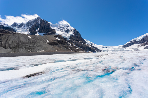 Athabasca Glacier and Mount Andromeda are part of the Columbia Icefield, the largest ice field in the Canadian Rockies. The Columbia Icefield is located in Jasper National Park, Alberta, Canada.