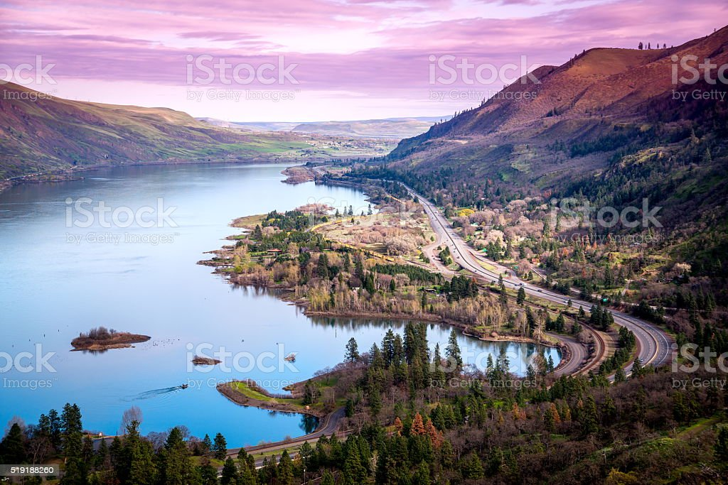 Columbia River from Rowena Crest Viewpoint Oregon stock photo