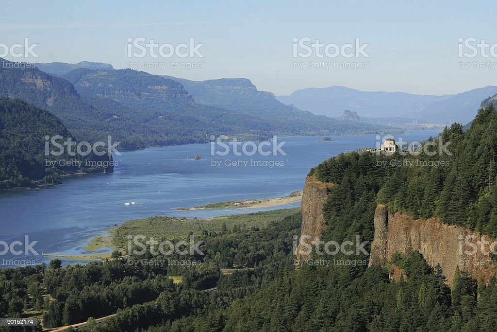 Columbia River Gorge and View of Crown Point stock photo
