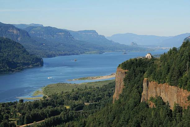 Columbia River Gorge and View of Crown Point  hood river valley stock pictures, royalty-free photos & images