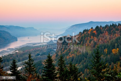 The Columbia River Gorge in Oregon just after sunset.