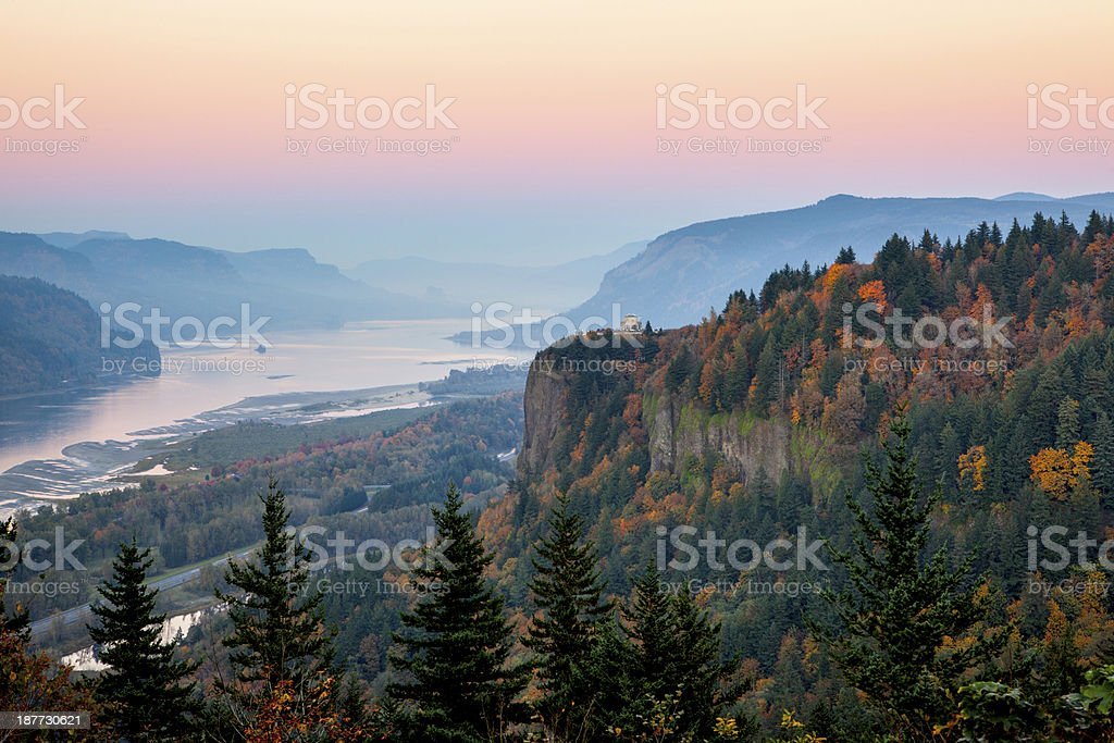 Columbia River Gorge Dusk. stock photo