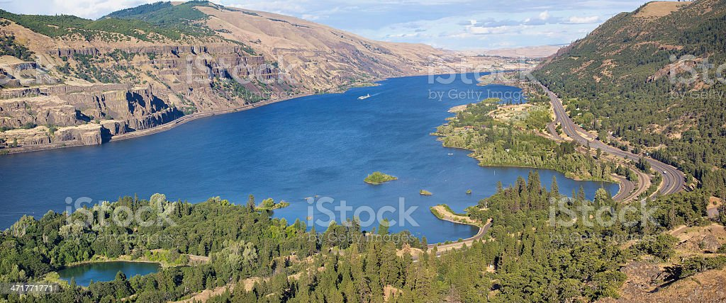 Columbia River Gorge from Rowena Crest Panorama royalty-free stock photo