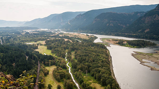 Columbia River Gorge - View from Beacon Rock stock photo