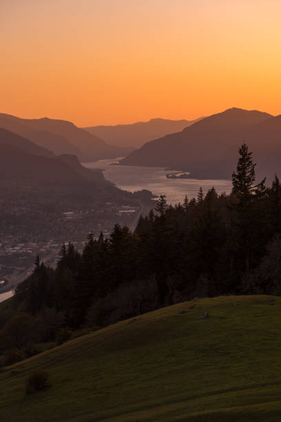 Columbia River Gorge views at sunset stock photo