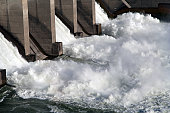 Water rushing alongside a lock on the Columbia River