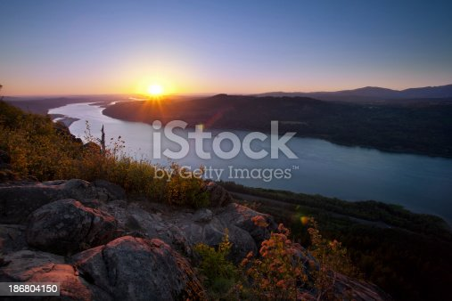 Sunset from Angel's Rest vista overlooking the Columbia River Gorge.