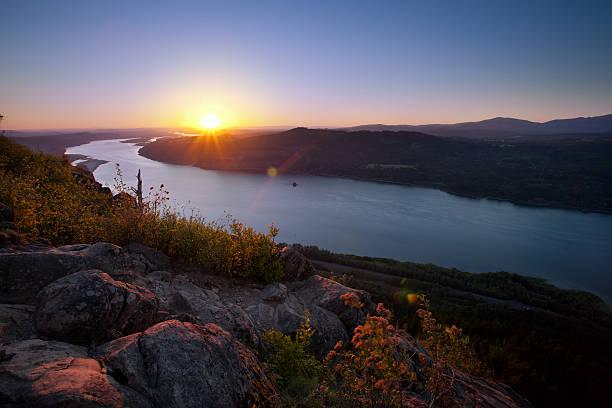 Columbia River Sunset stock photo