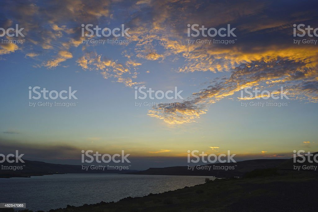 Columbia River Twilight stock photo