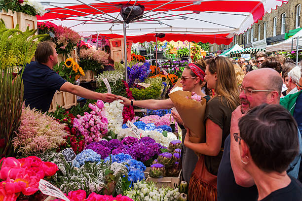 Columbia Road Flower Market in London, UK stock photo