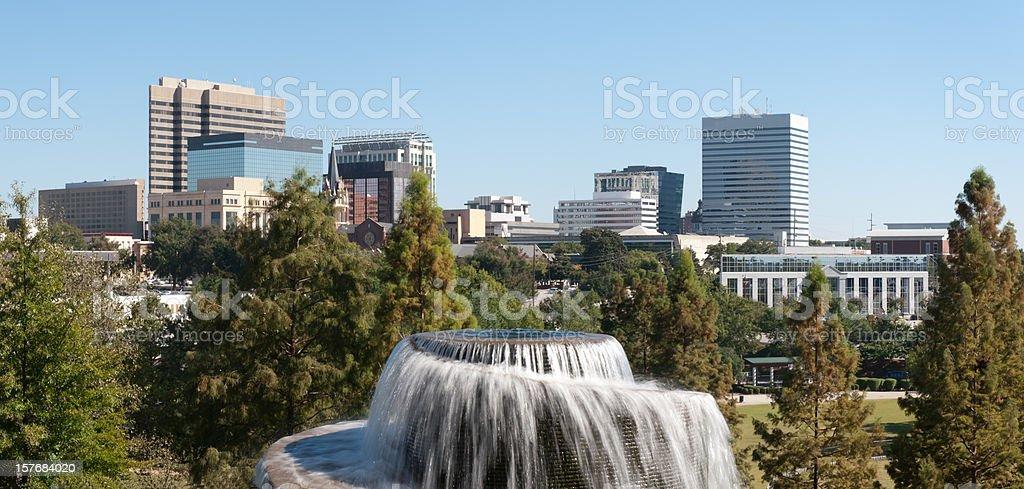 Columbia South Carolina Skyline at Finley Park royalty-free stock photo
