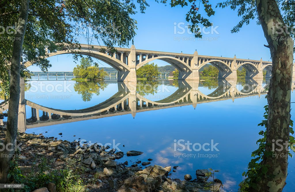 Columbia-Wrightsville Bridge, Blue Sky Reflected in Susquehanna River stock photo
