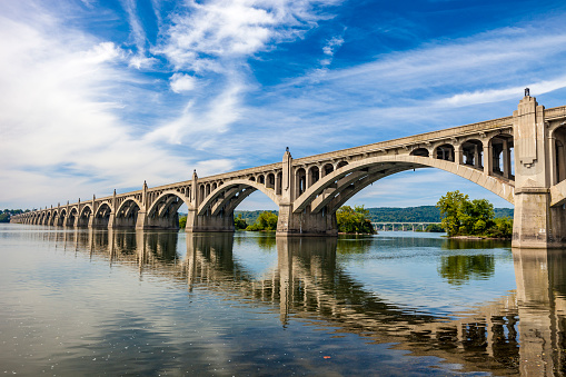 The bridge connects Columbia and Wrightsville over the Susquehanna River.