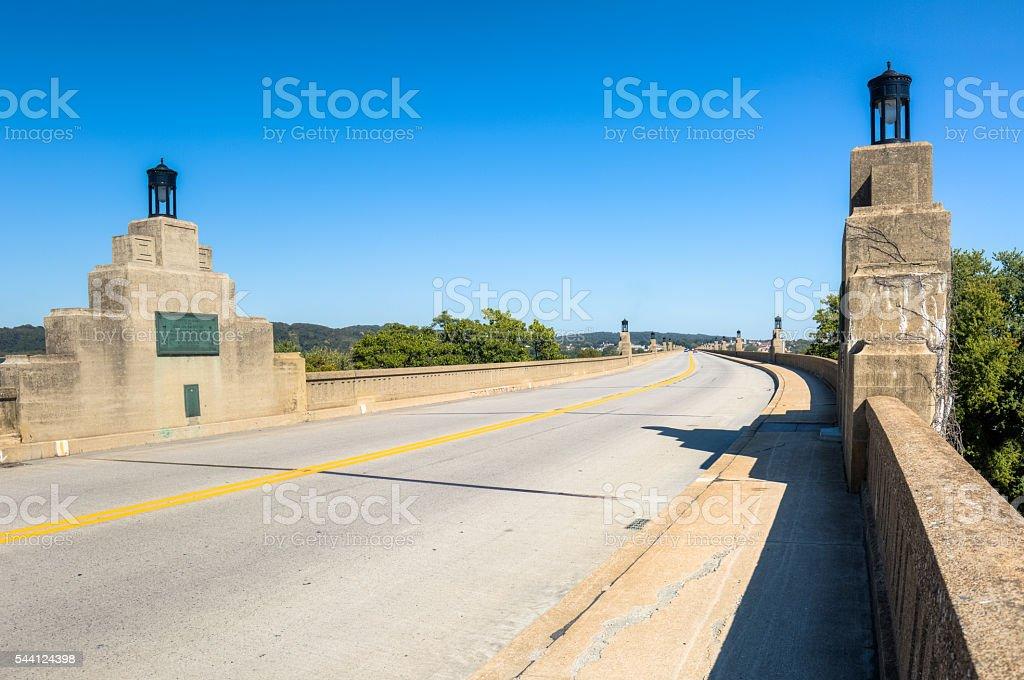 Columbia-Wrightsville Bridge with Art Deco Lights stock photo