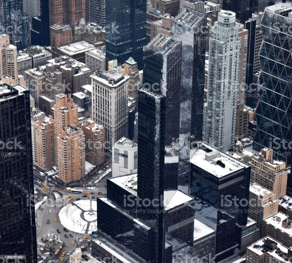 Columbus Circle Covered in Snow in the Winter stock photo