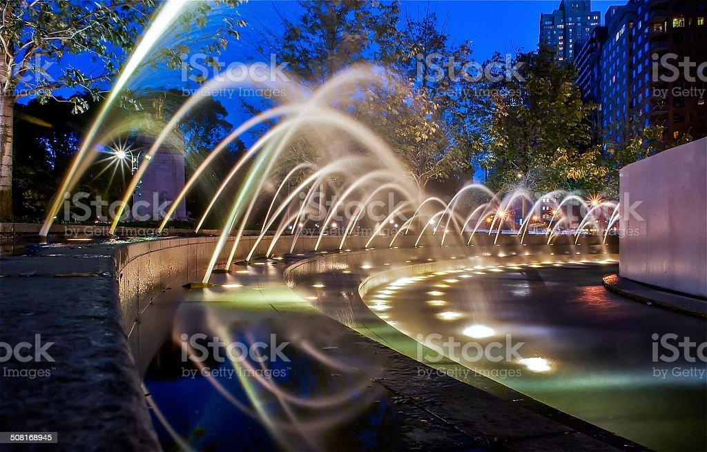 Columbus Circle Fountains stock photo