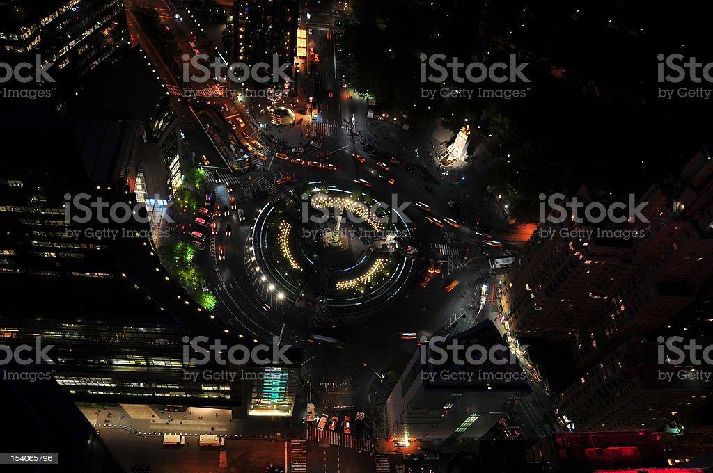 Columbus Circle from Above at Night stock photo