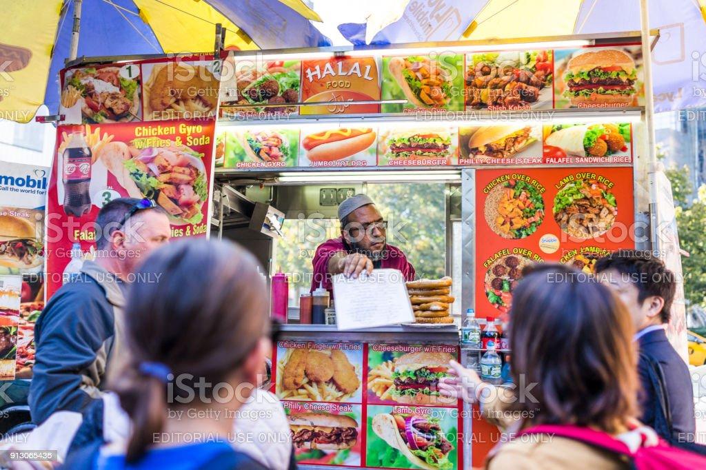 Columbus Circle In Midtown Manhattan Nyc Closeup Of Halal Food Truck