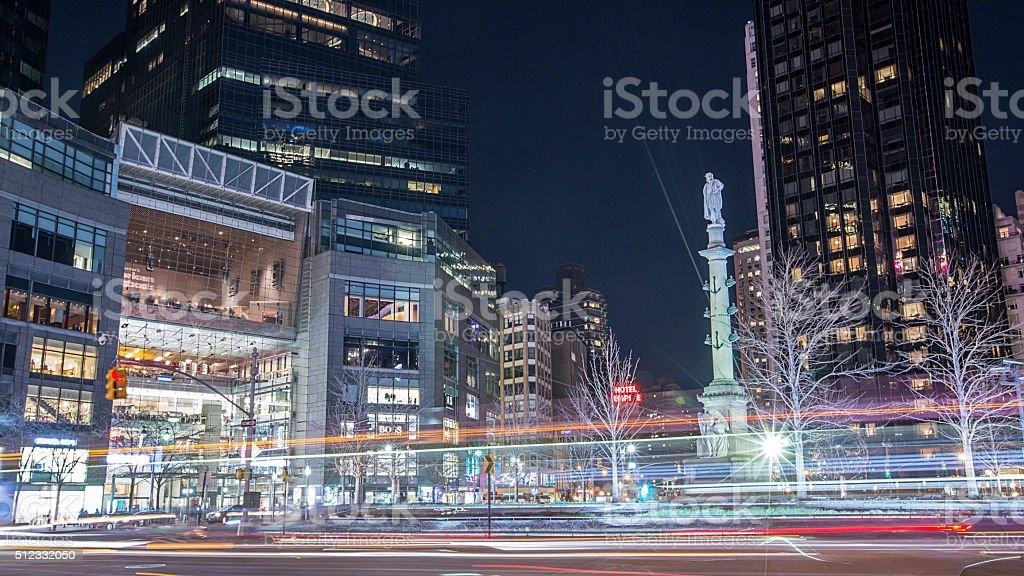 Columbus circle in New York City at night stock photo