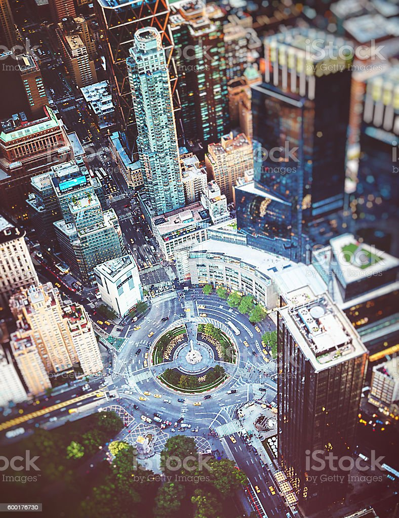 Columbus Circle square in Manhattan from the sky stock photo