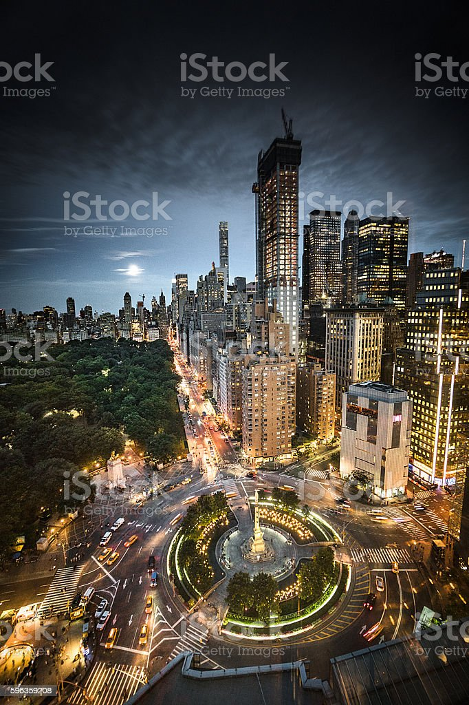 Columbus Circle square in Manhattan on the night stock photo