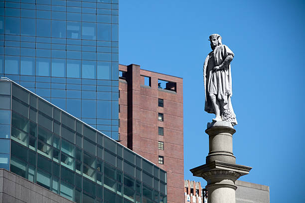 Columbus circle statue close up stock photo