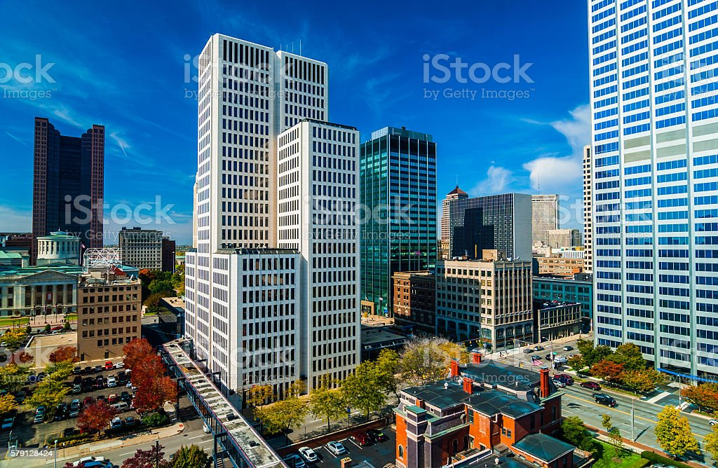 Columbus downtown aerial stock photo
