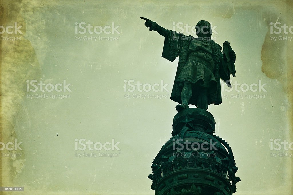 Columbus monument in barcelona royalty-free stock photo